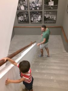 Aiden's favourite part of the museum, the stairs.