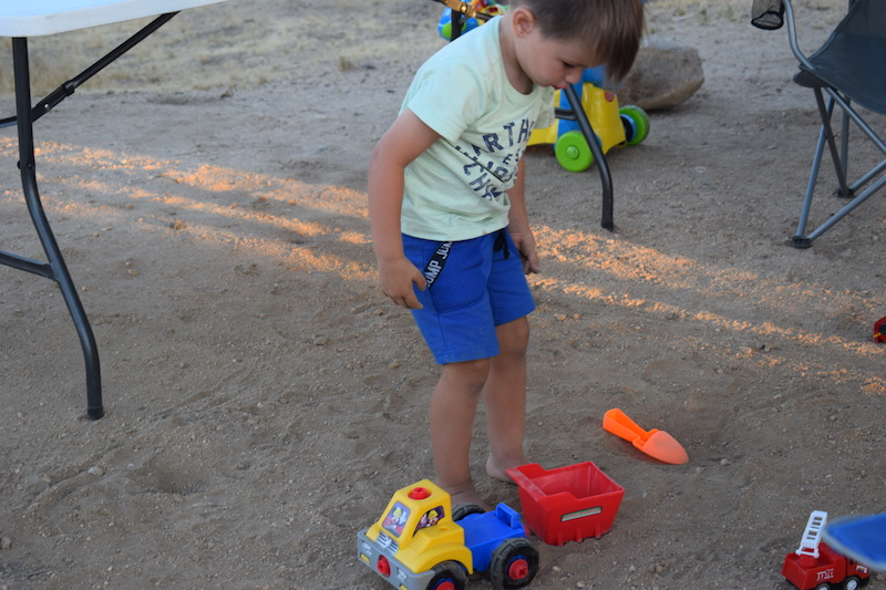 playing toys outside our RV