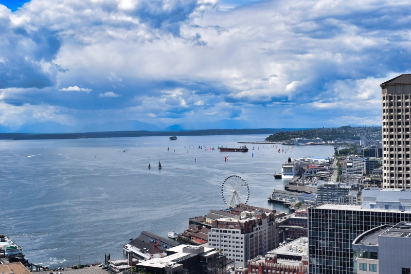 Views of Seattle from the Smith Tower observation deck