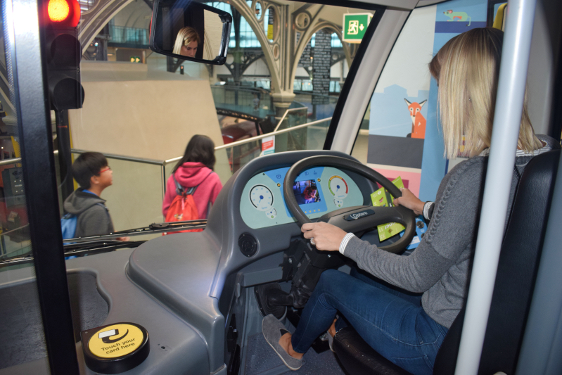 Driving a London bus at the London transport museum